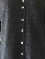 dark grey with V-Neck and mother of pearl button button closure in baby alpaca