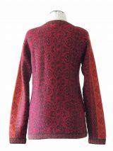 cardigan Korina red-orange with pattern