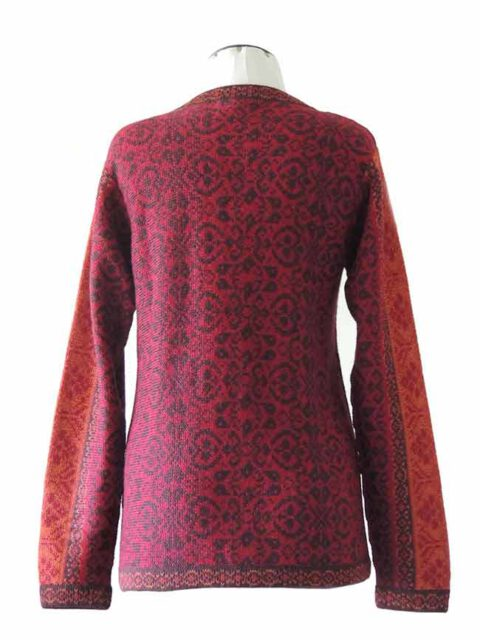 cardigan Korina red-orange with pattern