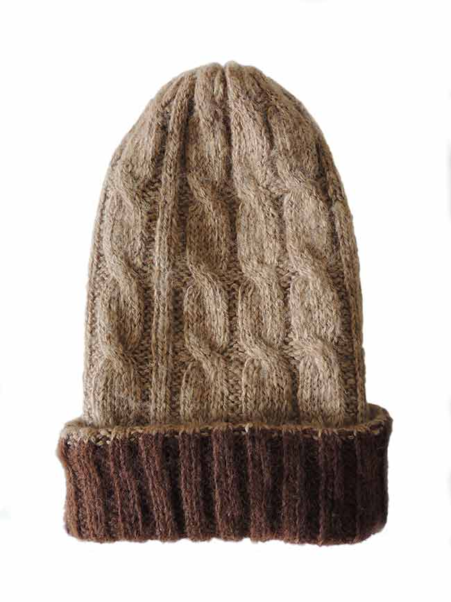 hand knitted beanie reversible brown-beige.