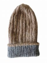 hand knitted beanie reversible grey-beige.