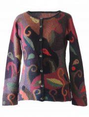PopsFL Knitwear inatarsia knitted cardigan 100% alpaca