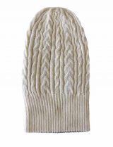 beanie reversible two colors creme -black with cable motif