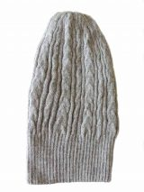 beanie reversible two colors grey -black with cable motif