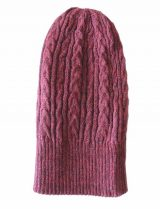 beanie reversible two colors bordeaux - grey with cable motif