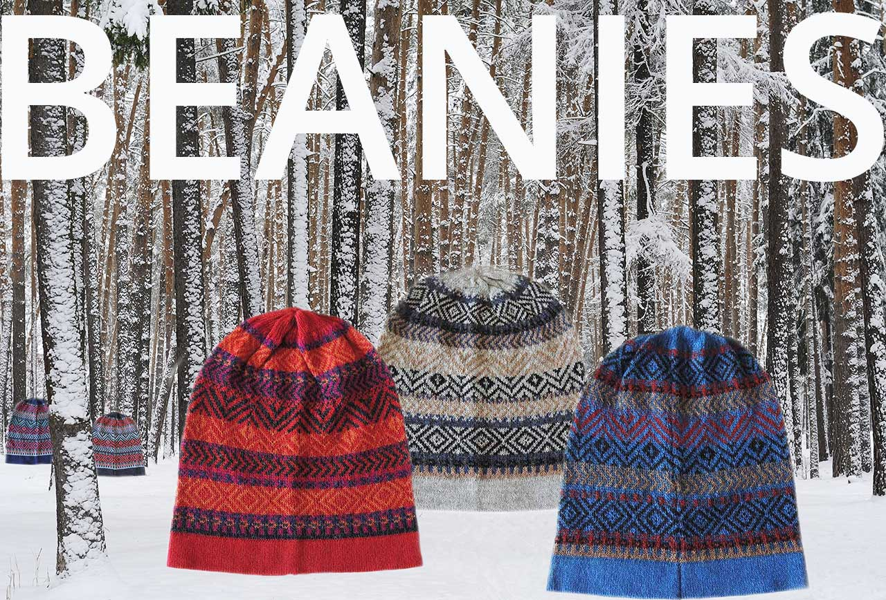 PFL Knitwear beanies with graphic design multicolor baby alpaca
