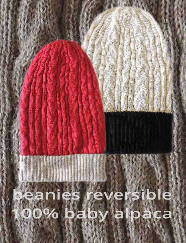 PFL Knitwear wholesale, Reversible beanies, cable pattern, baby alpaca.
