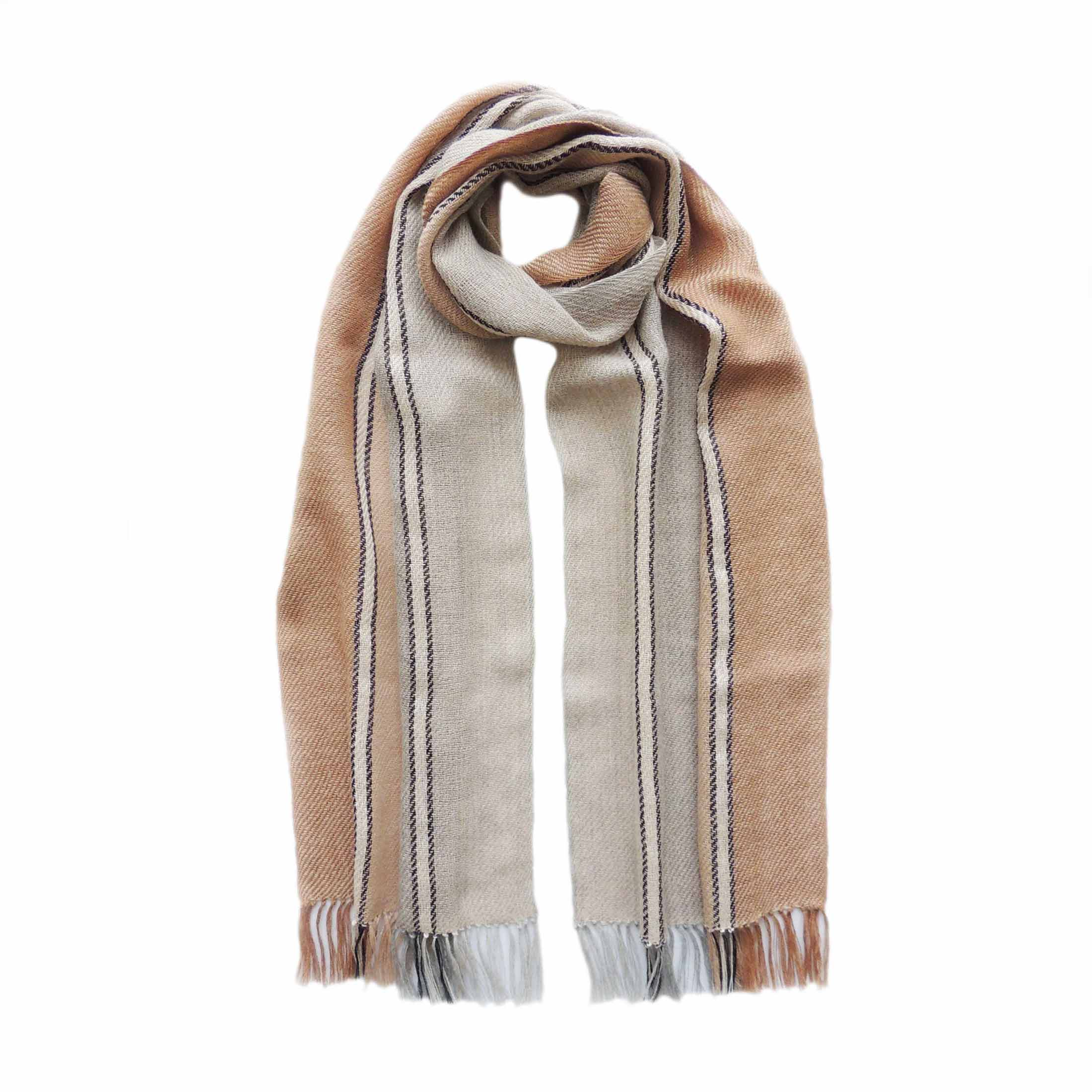 PopsFL Peru wholesale producer Handwoven scarf, baby alpaca stripes with fringes. unisex