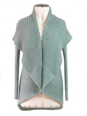 PFL knitwear open cardigan Keyla, color sea green-gray in 100% alpaca.
