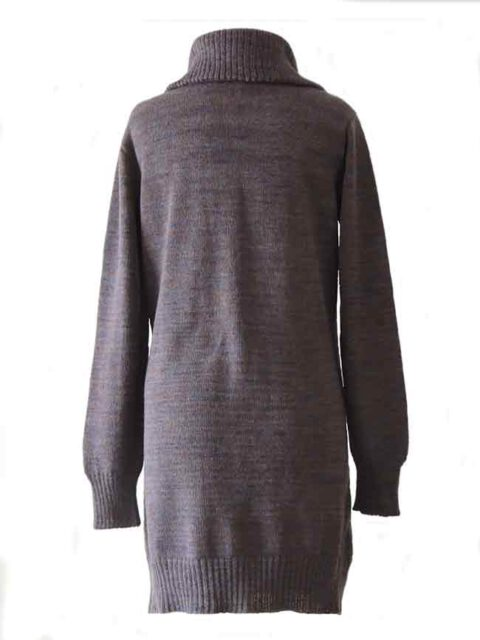 PFL knitwear, cardigan Janirta medium long, with button closure, high closing collar, 100% alpaca.