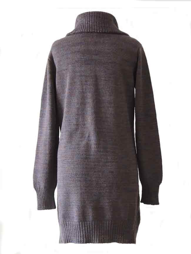 PFL knitwear, cardigan Janirta medium long, with button closure, high closing collar, 100% alpaca.