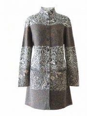 PFL knitwear, cardigan / coat grey-multi, four color design with flower pattern