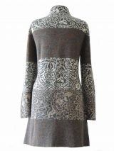 PFL knitwear, cardigan / coat grey-multi, four color design with flower pattern