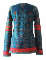 PFL knitwear cardigan Lucy blue-multi with color print in jacquard knit, round neck and button closure, in 100% baby alpaca wool