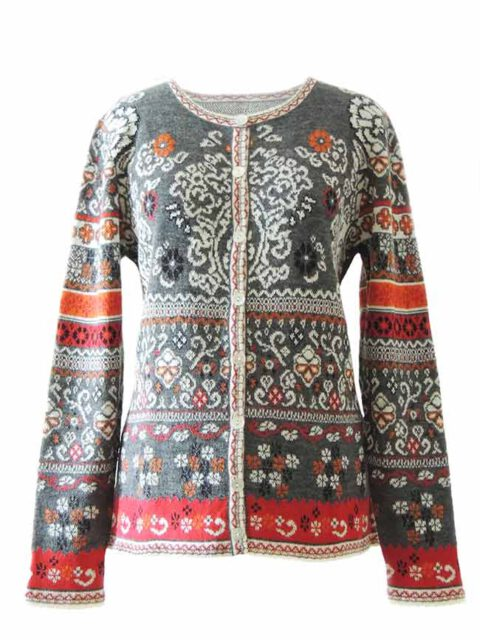 PFL knitwear cardigan Lucy grey-red-multi with color print in jacquard knit, round neck and button closure, in 100% baby alpaca wool