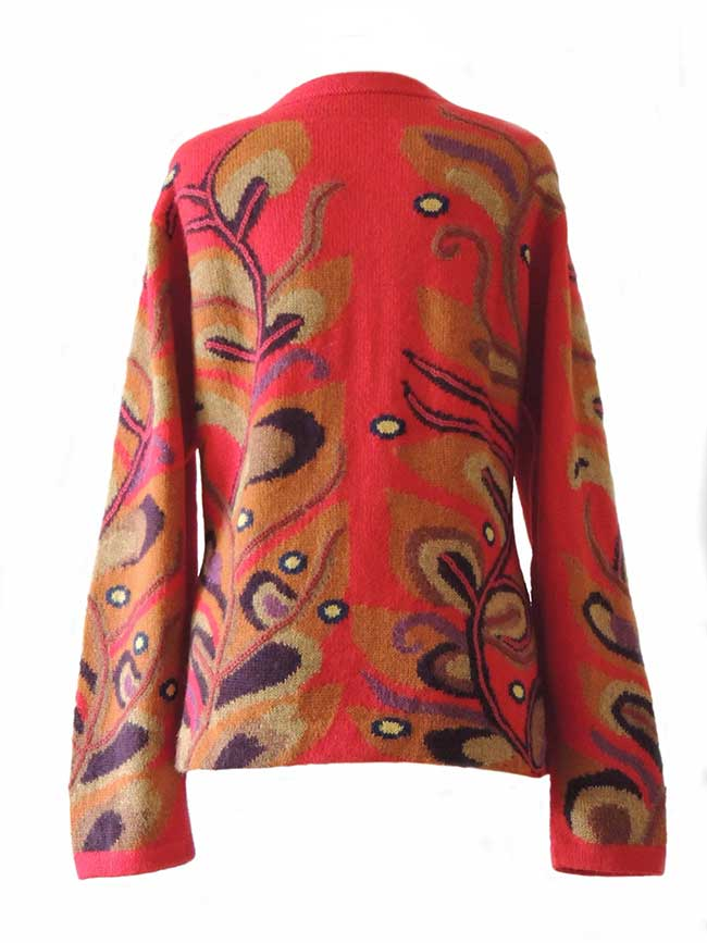 PFL knitwear, cardigan intarsia knitted with branches - leaf pattern, embroidered details, crew neck and button closure in alpaca.