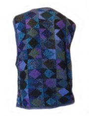 PFL knitwear, sleeveless cardigan intarsia knitted with graphic pattern crew neck  and button closure in  alpaca.