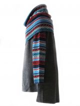 PFL Knitwear, cardigan solid color with multicolor waterfal collar in 100% baby alpaca.