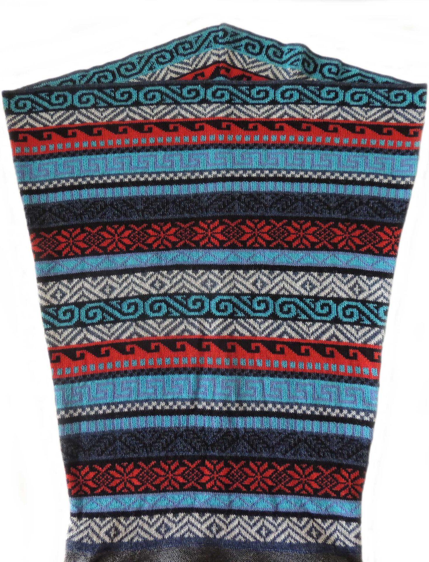 PFL Knitwear, cardigan solid color with multicolor waterfal collar in 100% baby alpaca.