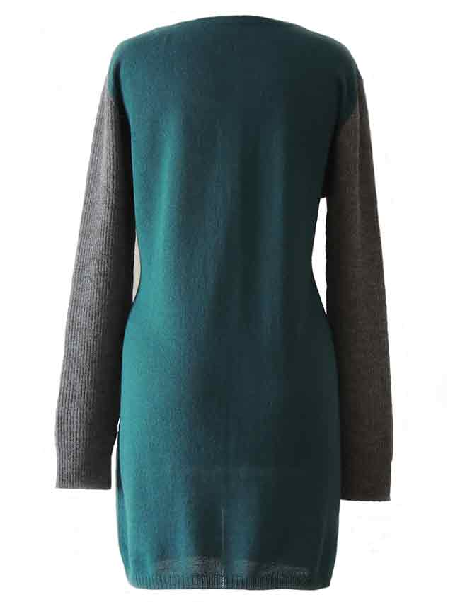 PFL knitwear cardigan jersey solid color with rib knitted contrasting sleeves. button closure in 100% alpaca.