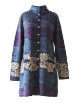 PFL knitwear, cardigan / coat Georgina blue-multi, four color design with flower pattern,