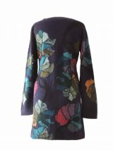 PFL knitwear, cardigan blue with flower pattern
