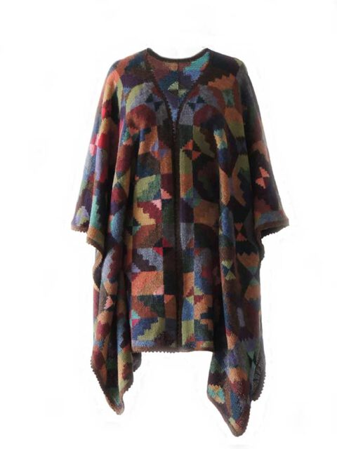 Ruana cape with graphic pattern multi color 100% alpaca