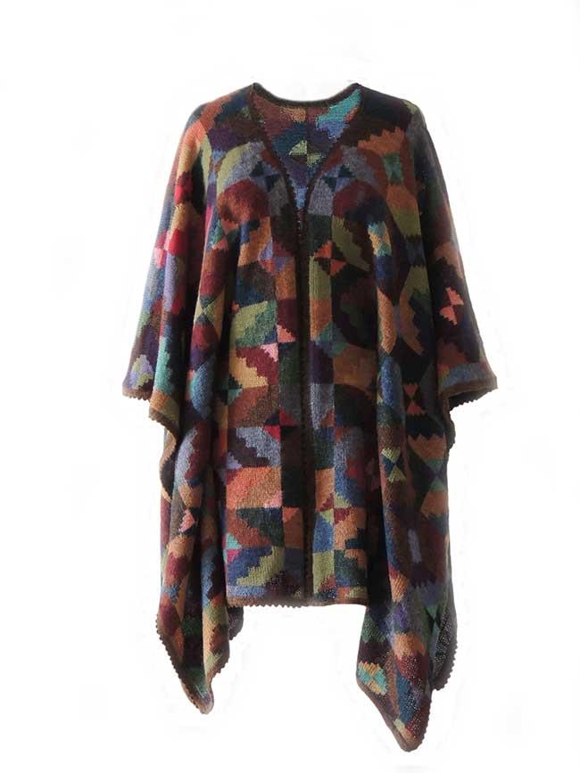 Ruana cape with graphic pattern multi color 100% alpaca