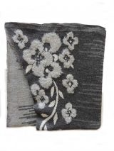 Ruana cape alpaca in grey tones with embroidered flowers