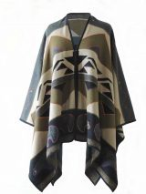 Ruana wrap green with graphic design, and bear motive
