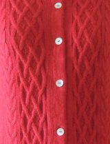 001-01-2147-03 PFL knitwear, cardigan Angee, with cable pattern, red.