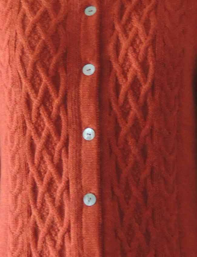 001-01-2147-05 PFL knitwear, cardigan Angee, with cable pattern, orange