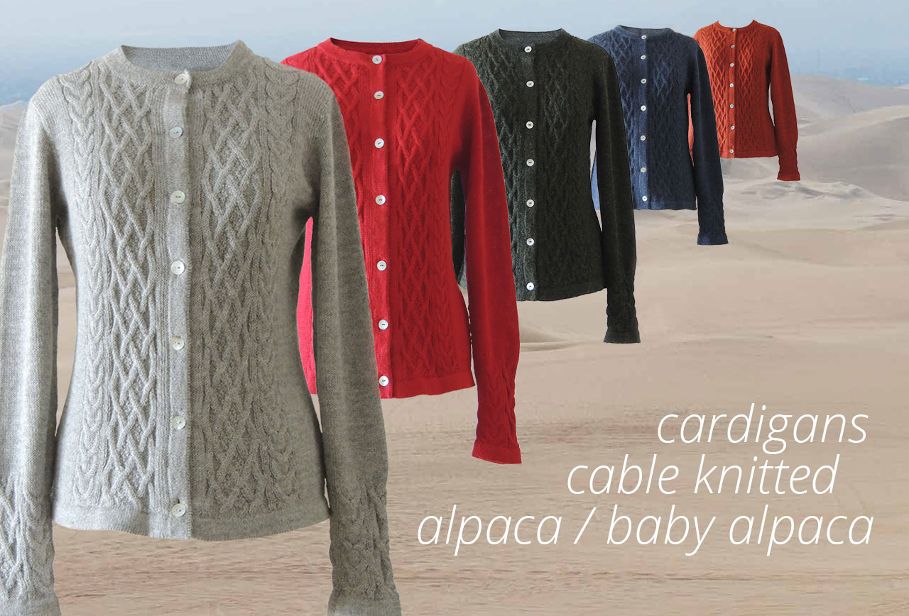 PFL Knitwear 100% baby alpaca - 100% alpaca cardiganswith cable pattern made in peru