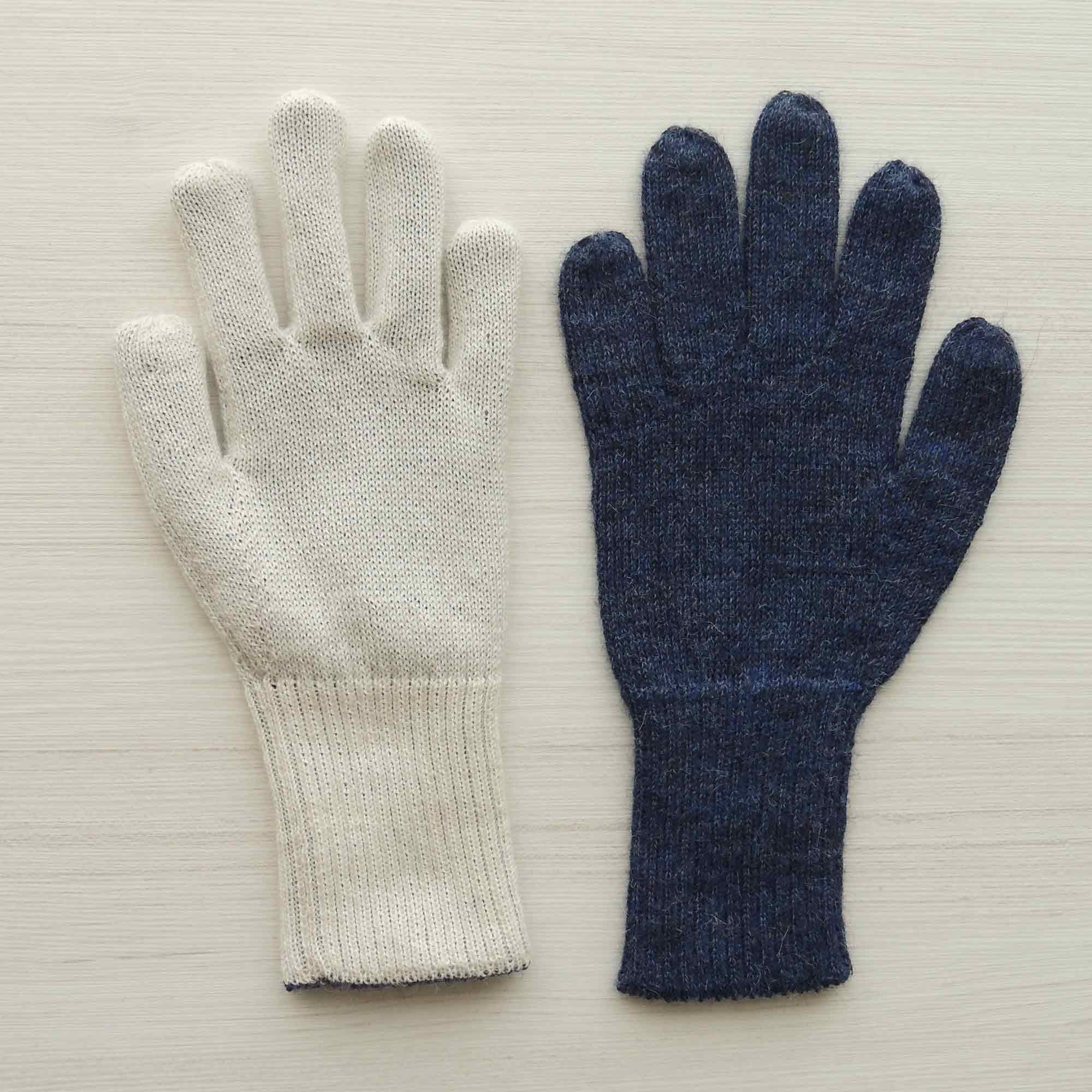 PopsFL Knitwear producer / wholesale 001-21-1013 Winter gloves, reversible two colors baby alpaca