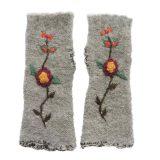 PopsFL Wirst warmers, fingerless gloves with embroidered flower detail, alpaca blend