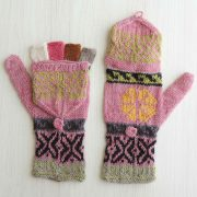 PopsFL knitwear producer wholesale Convertible fingerless mittens 100% alpaca hand knitted multi color natural dyes, fingerless gloves