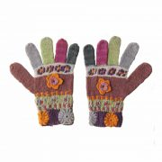 PopsFL knitwear producer wholesale Women's hand knitted gloves with crocheted details