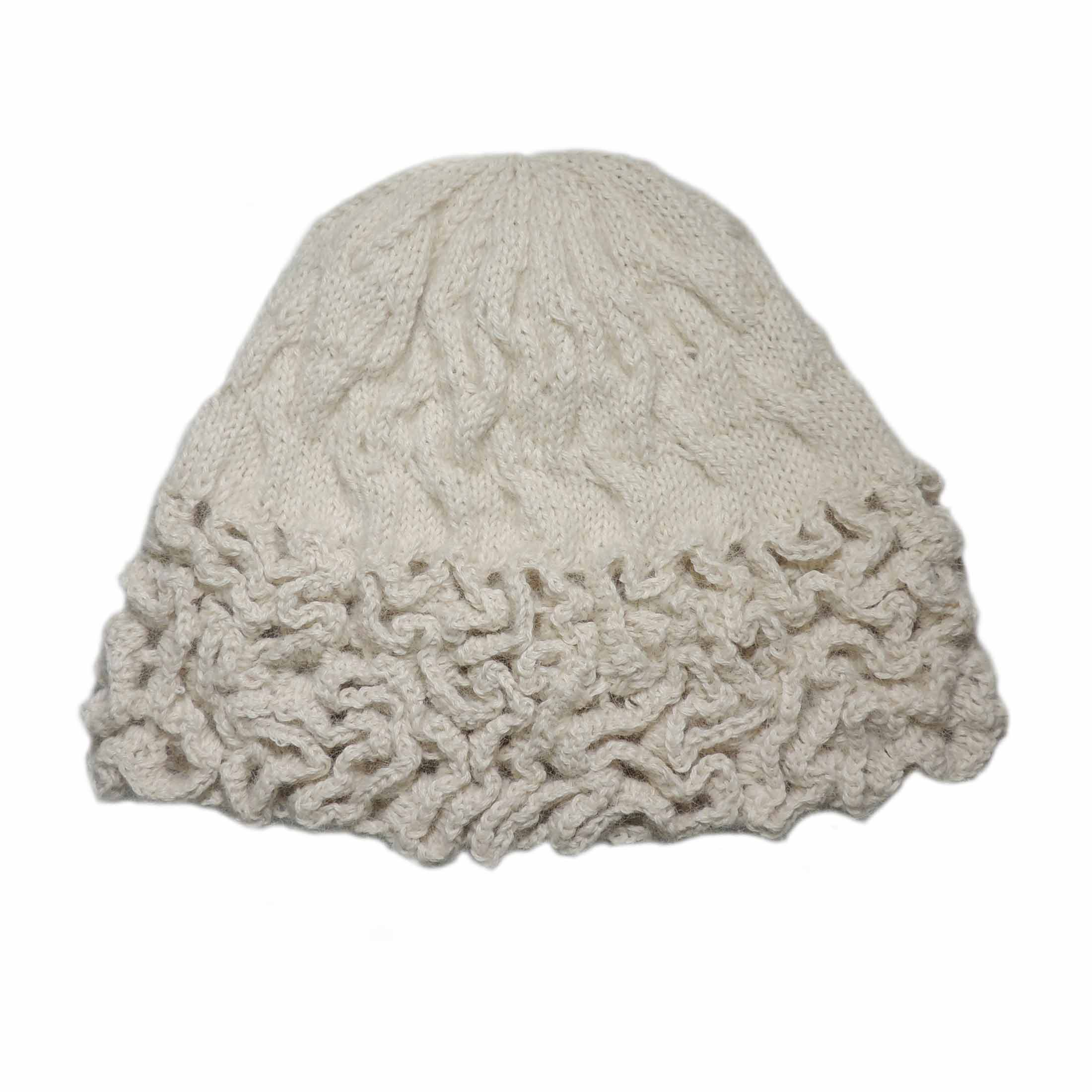 Popsfl Knitting Peru wholesale producerHand knitted beanie - hat solid color with relief pattern in 100% baby alpaca