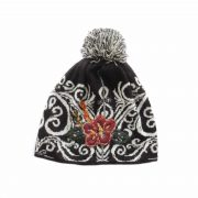 PopsFL wholesale producer PFL Knitwear jacquard knitted beanie with embroided detail and pompon.
