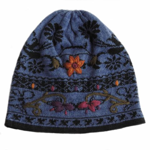 PopsFL wholesale producer PFL Knitwear jacquard knitted womens beanie - hat with hand embroided flower details.