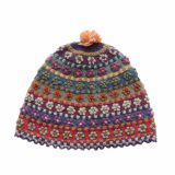 PopsFL wholesale producer Hand knitted womens colorful beanie - hat made of natural dyed sheepswool.