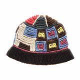 PopsFL Knitwear wholesale producer Hand knitted beanie - hat with colorful relief pattern in natural dyed sheepswool.