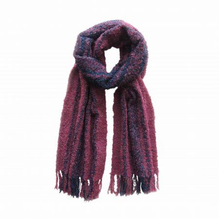 PopsFL knitwear Peru wholesale manufactor handwoven scarf alpaca boucle striped two colors.