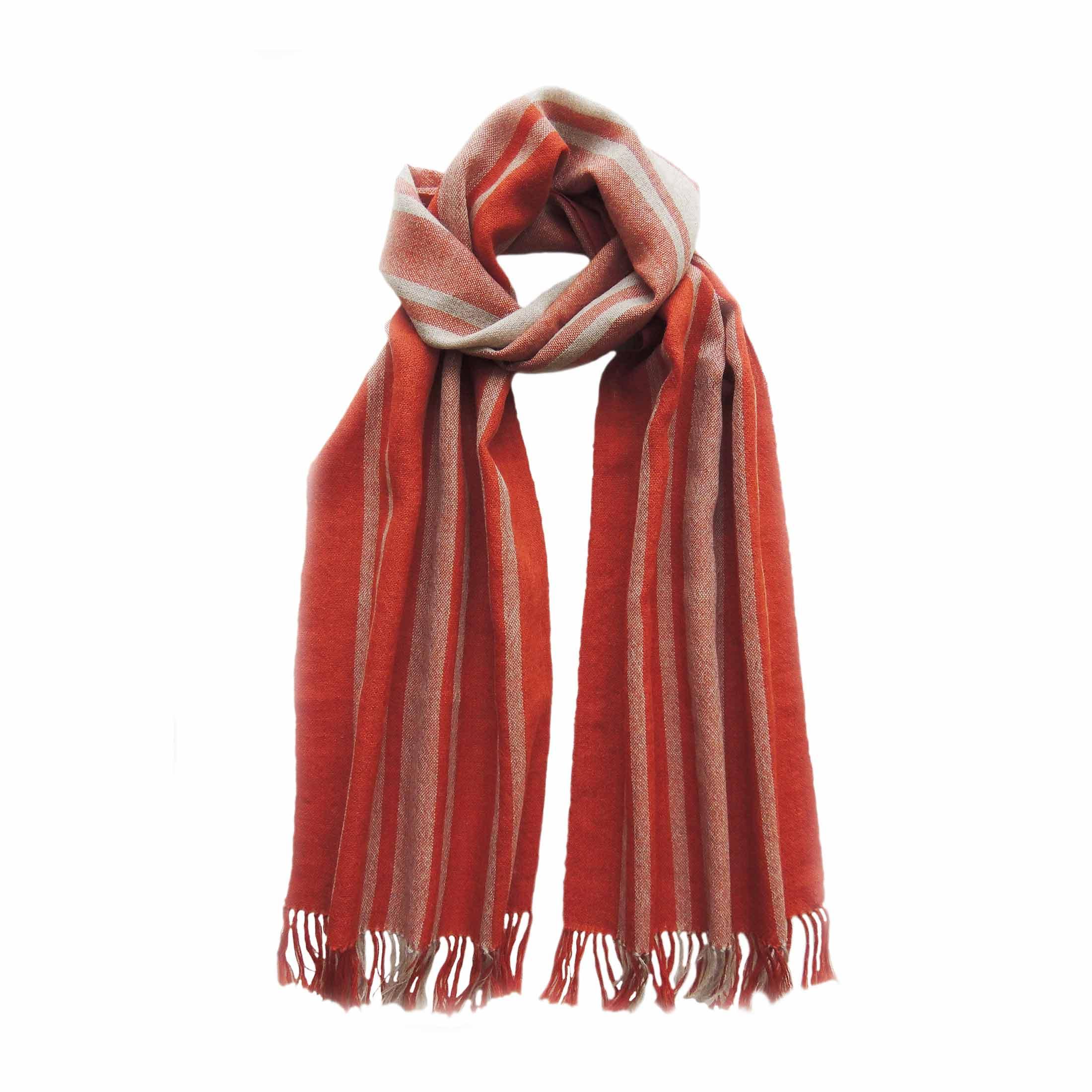 PopsFL knitwear Peru wholesale manufactorhandwoven scarf baby alpaca striped two colors