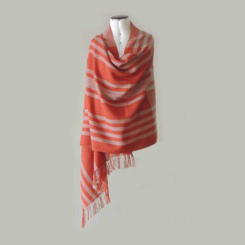 PopsFL knitwear Peru wholesale manufactorhandwoven shawl - stole baby alpaca striped two colors