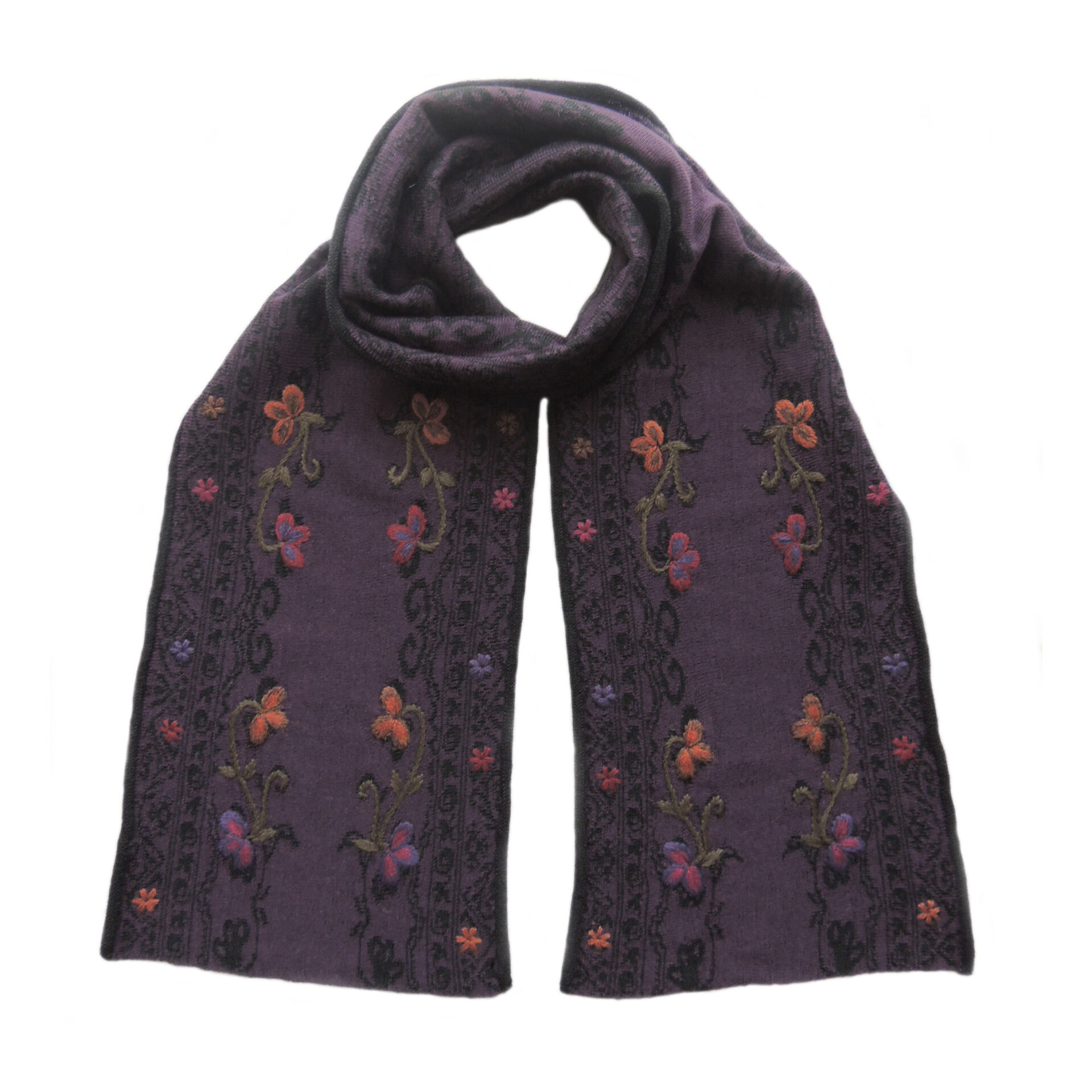 Women's scarf jacquard knitted with hand embroidered details. Scarf blue with black pattern alpaca blend scarf