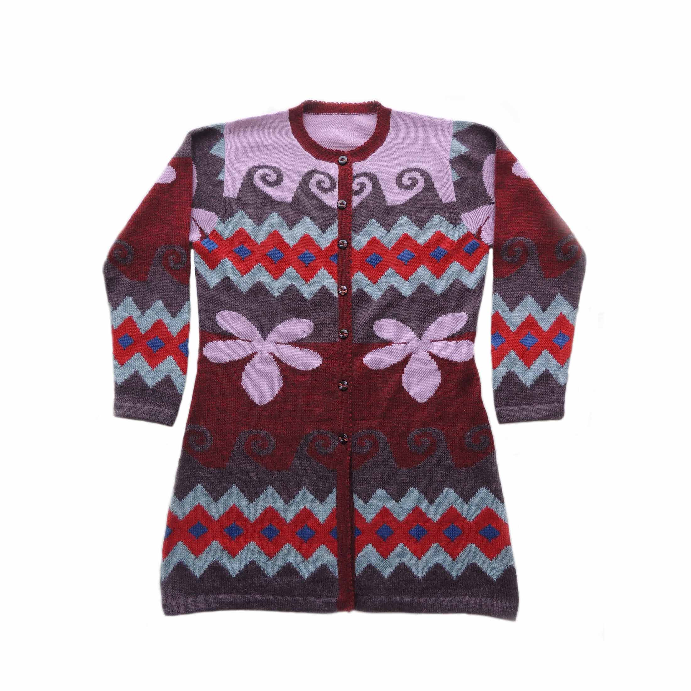 PopsFL Wholesale Intarsia knitting collection women's cardigan alpaca