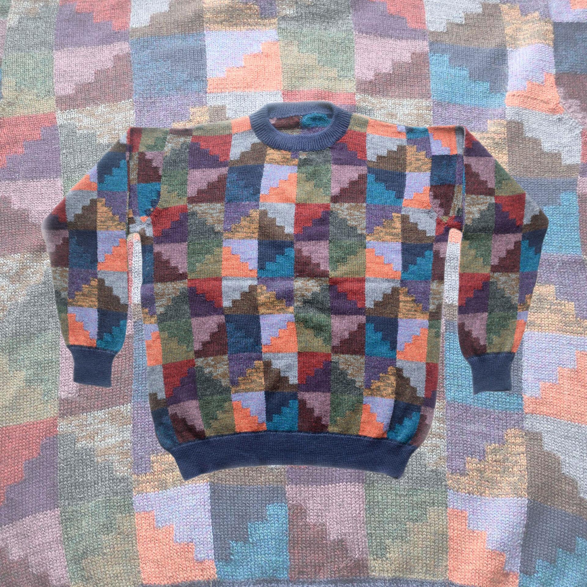 PopsFL knitwear men sweater intarsia knitted 100% alpaca