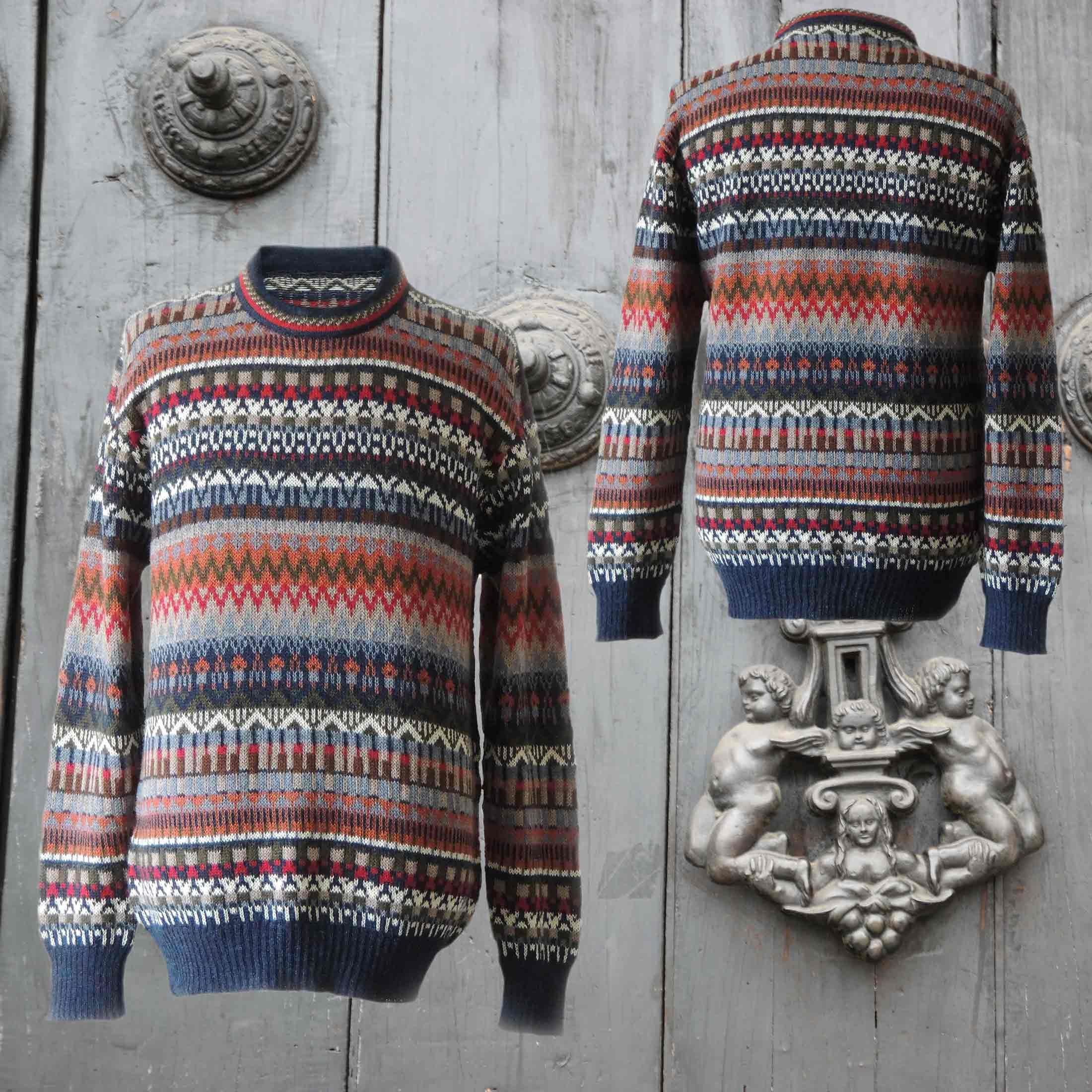 Men sweater alpaca with stripe pattern