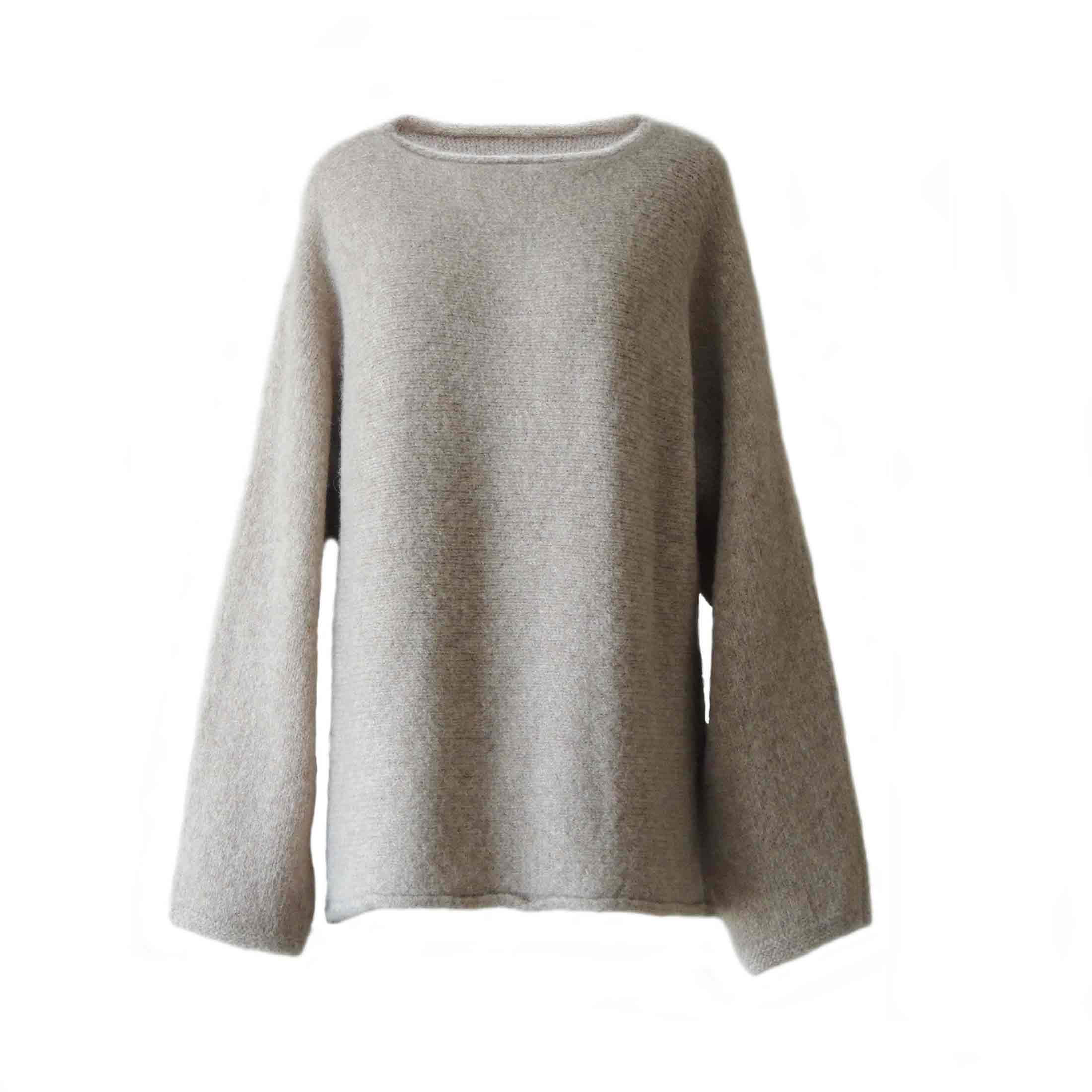 PopsFL Knitwear wholesale Women oversized sweater, solid color with boat neck in felted alpaca blend Industrial knitted made in Peru